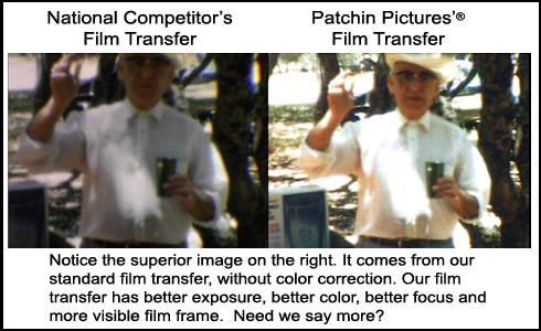 Comparison of frames from Patchin Pictures' superior transfer and a competitor's transfer.